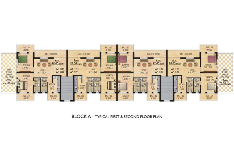 BLOCK A - Typical First & Second Floor Plan