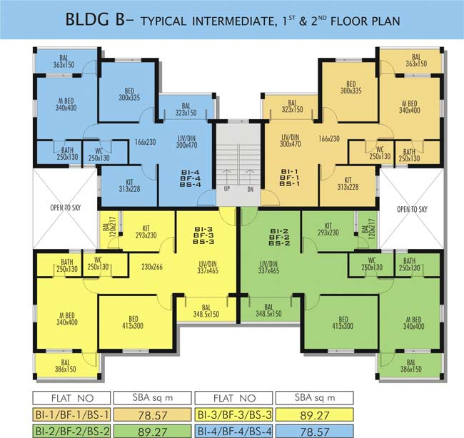 BLDG B -Typical Intermdiate Typical First and Second Floor Plan